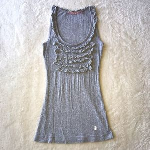 Juicy Couture Gray Ruffled Tank Size Small